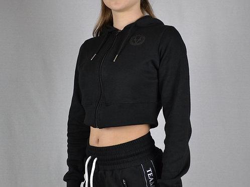 Crop Zip Hoodie All Black