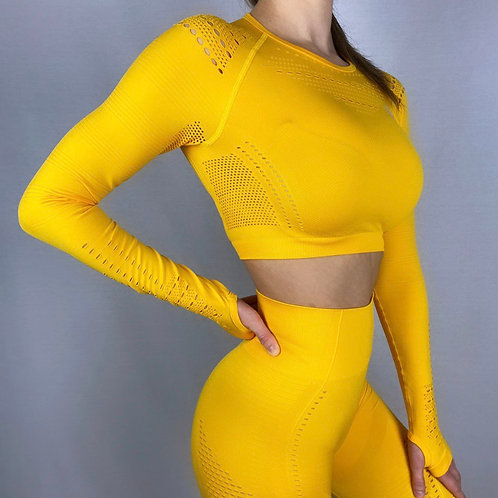 New Generation Seamless Longsleeve Crop Top Sunshine Yellow