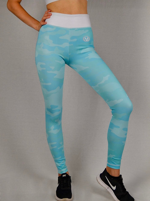 Military Mesh Leggings Skyblue Camo