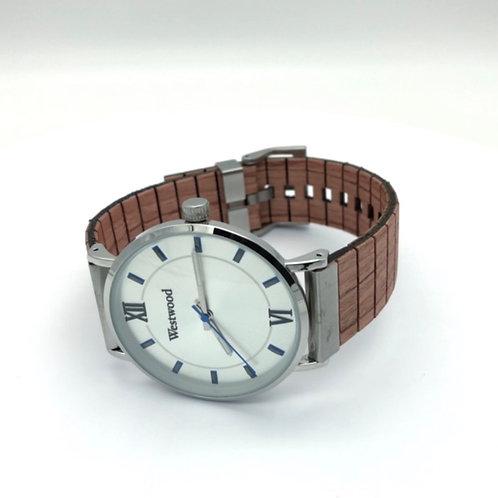 Basic Watch Wood Strap Beige/White