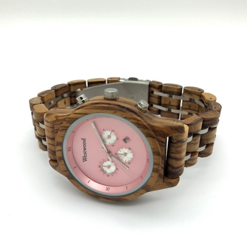 Rose Pink Watch Wood - Metal Strap