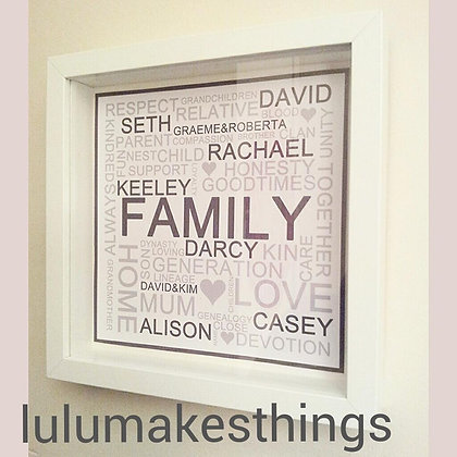 Framed Personalised Name cloud - Square