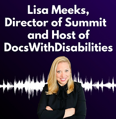 Photo of Lisa Meeks, PHD with purple background and white lines that indicate recording. Title is Lisa Meeks, Director of SUMMIT and Host of DocsWithDisabilities