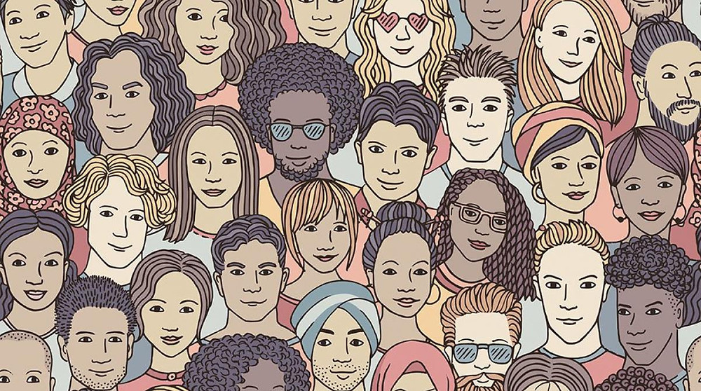 Vector art of a diverse crowd of people