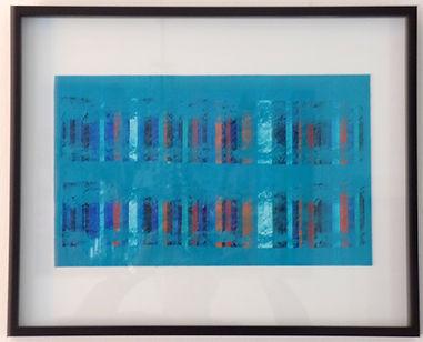 L'intensité bleu. Acrylic on paper in artist frame. 50x40cm