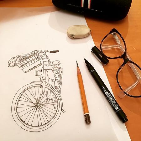 Ladie's Bike Drawing