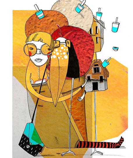 Mixed Media Girl Art with Ice-cream
