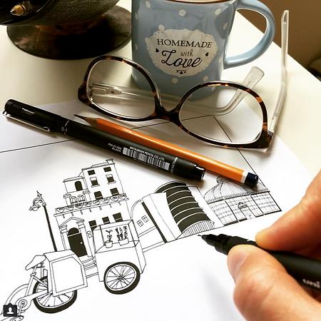 Dublin Landmarks Drawing