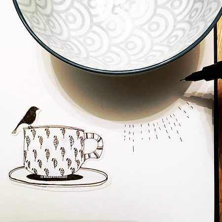 Cup & Bird Drawing