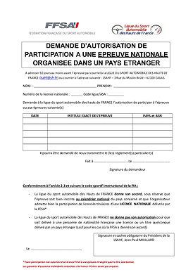 FORMULAIRE AUTORISATION DE PARTICIPATION