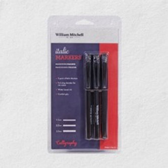William Mitchell Triple Pack of Italic Markers -Black