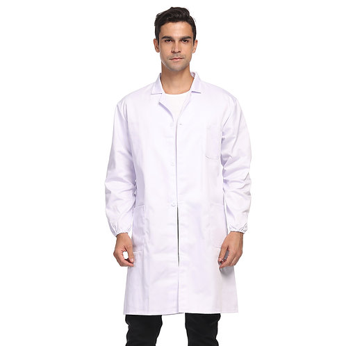 Unisex Lab Coat with Elastic Cuffs, 3 Pocket Full-Length Long Sleeve Lab Coat