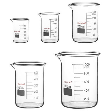 Glass Beaker Set, Combo Pack Graduated Low Form Griffin Beakers in 5 Sizes
