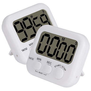 2pk Basic Digital Timer Loud Alarm Kitchen Timer Event Timer with Magnetic Back
