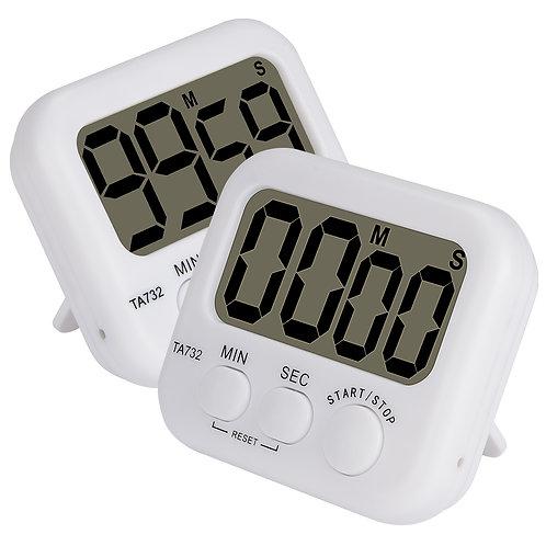 2pk Basic Digital Timer Loud Alarm Kitchen Timer Event Timer with Magnetic Back