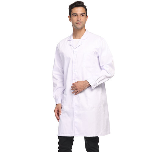 Unisex Lab Coat, Professional Full Length 3 Pocket Long Sleeve Laboratory Coat