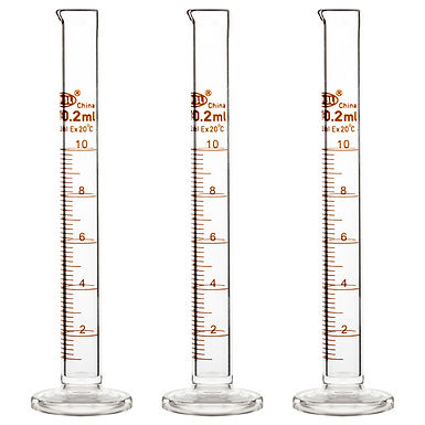 Borosilicate Glass Heavy Wall Graduated Cylinder Measuring Cylinder, 3 Pack