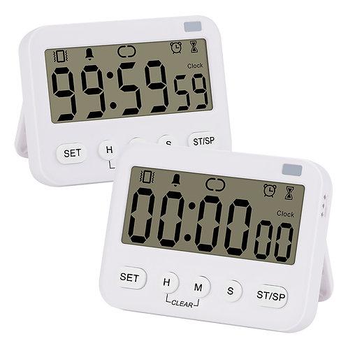 2pk Premium Digital Timer Vibration Volume Adjustable with Alarm, Magnetic Back