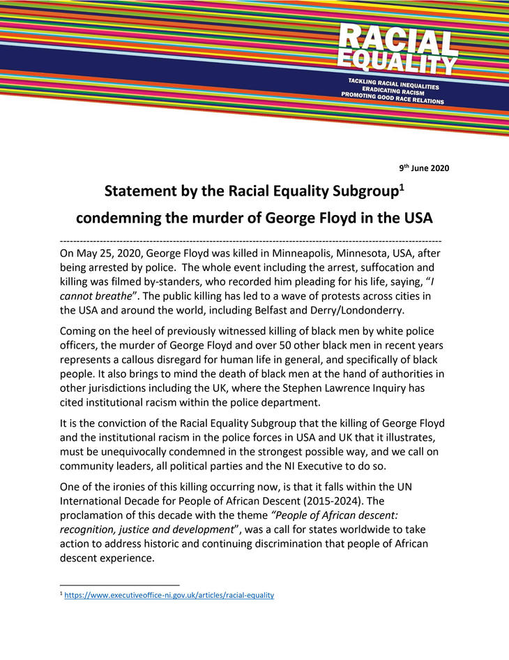 Statement from Racial Equality Subgroup