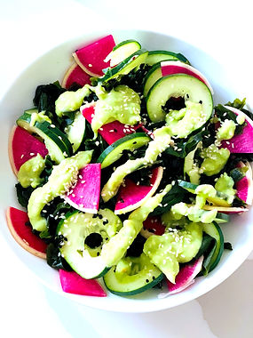 Cucumber + Wakame Salad with Creamy Ginger Dressing
