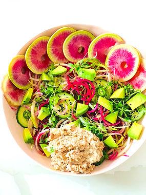 Watermelon Radish Tuna Tostada Bowl