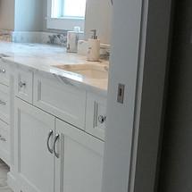 White Master Bath Vanity with Savannah Doors
