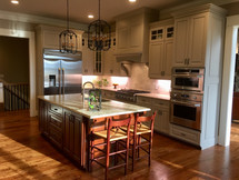Grey Kitchen with Cherry Island