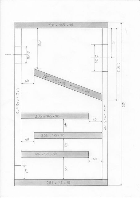 Plan pour enceinte large bande de format bibliothèque pour le haut-parleur large bande EMS LB5