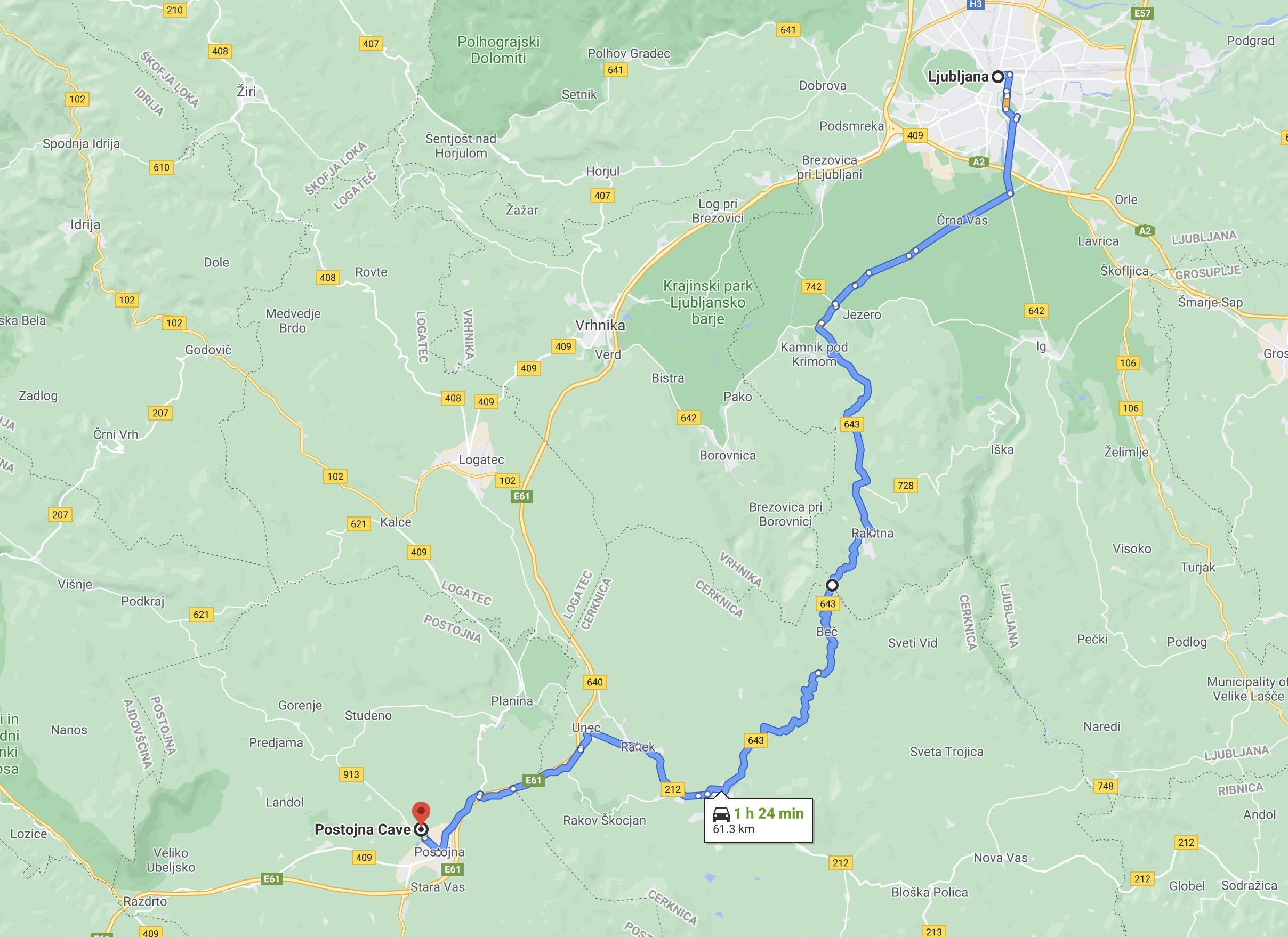 Ljubljana To Postojna Route