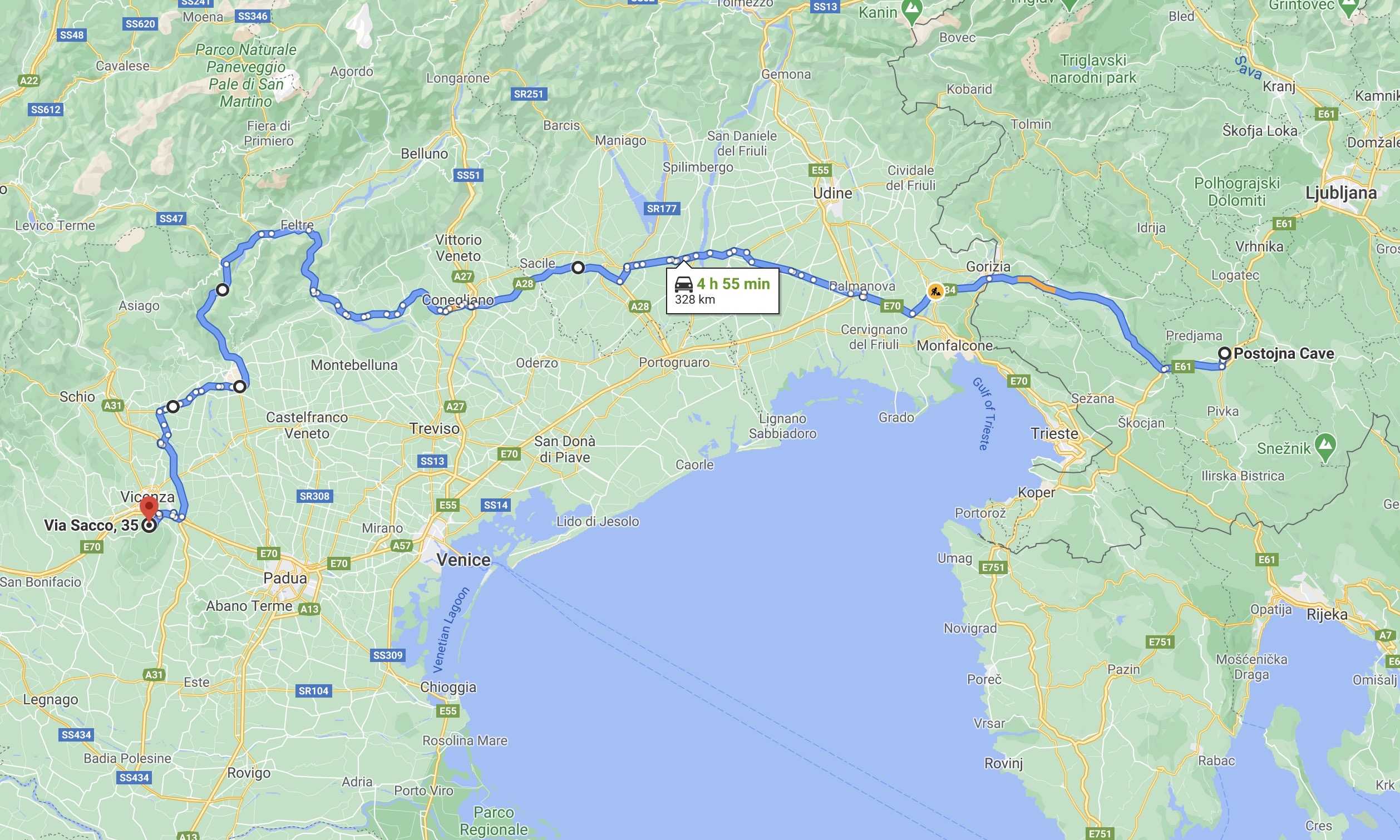 Postojinska to Vicenza Route