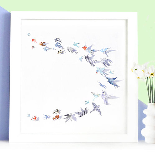 Personalised Papercut 'Flock Of Birds' Picture