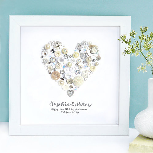 Personalised Silver Anniversary Button Heart