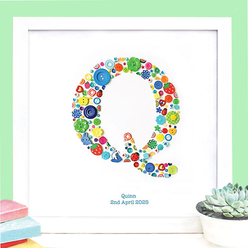 Personalised Boy Button Letter