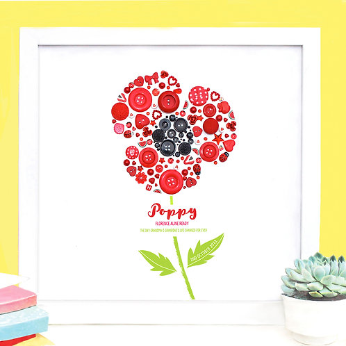 Personalised Button Poppy