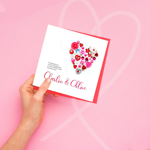 Personalised Vintage Button Engagement Card