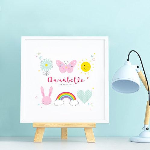 Personalised Baby Girl Print