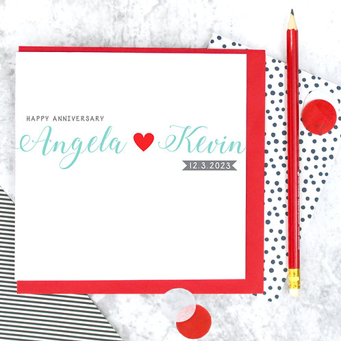 Personalised Typographical Anniversary Card