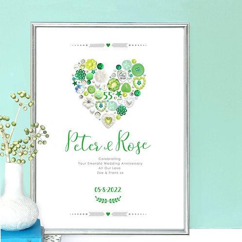 Personalised Emerald Anniversary Print