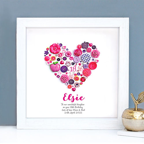 Personalised Birthday Button Heart