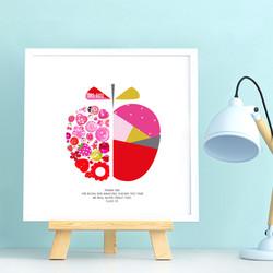 graphic apple teacher button design