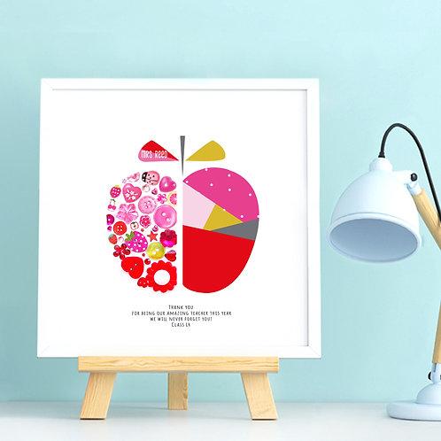 Personalised Teacher Geometric Apple
