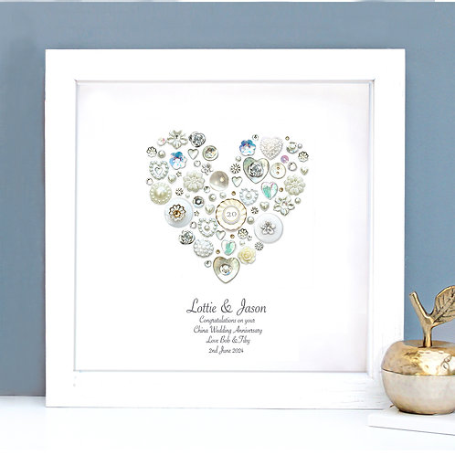 Personalised China Anniversary Button Heart