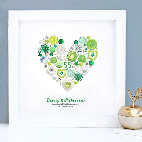 Personalised Emerald Anniversary Button Heart