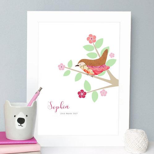 Personalised Little Bird Print