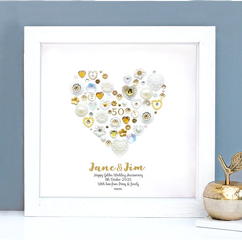 Personalised Golden Anniversary Button Heart