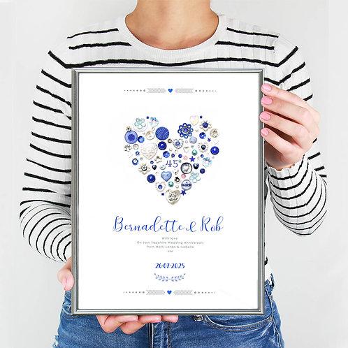 Personalised Sapphire Anniversary Print