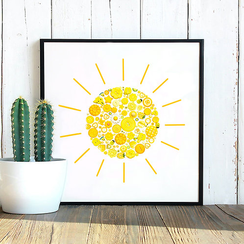 Sun Button Print