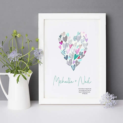 Personalised First Anniversary Paper Hearts