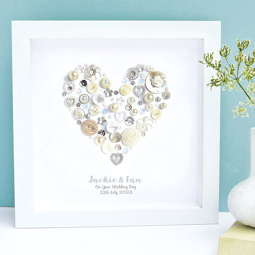 Personalised Wedding Button Heart
