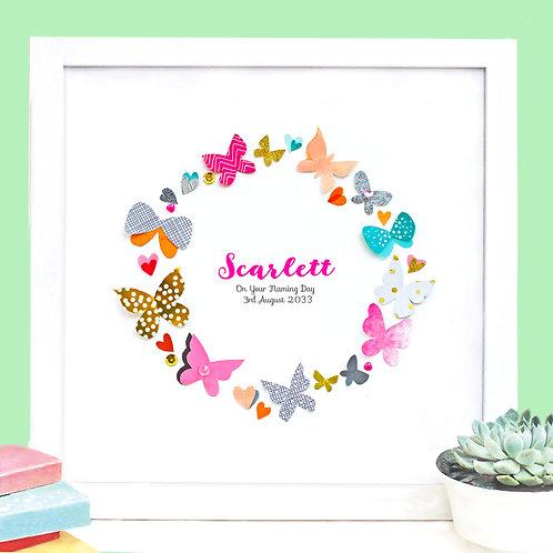 Personalised Butterflies Christening Design